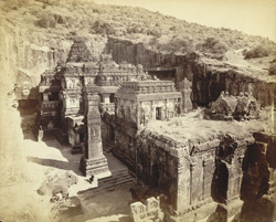 Kailas fr. hill N.W. corner [View of Hindu rock-cut temple, Cave XVI (Kailasanatha), from the north-west corner, Ellora.]